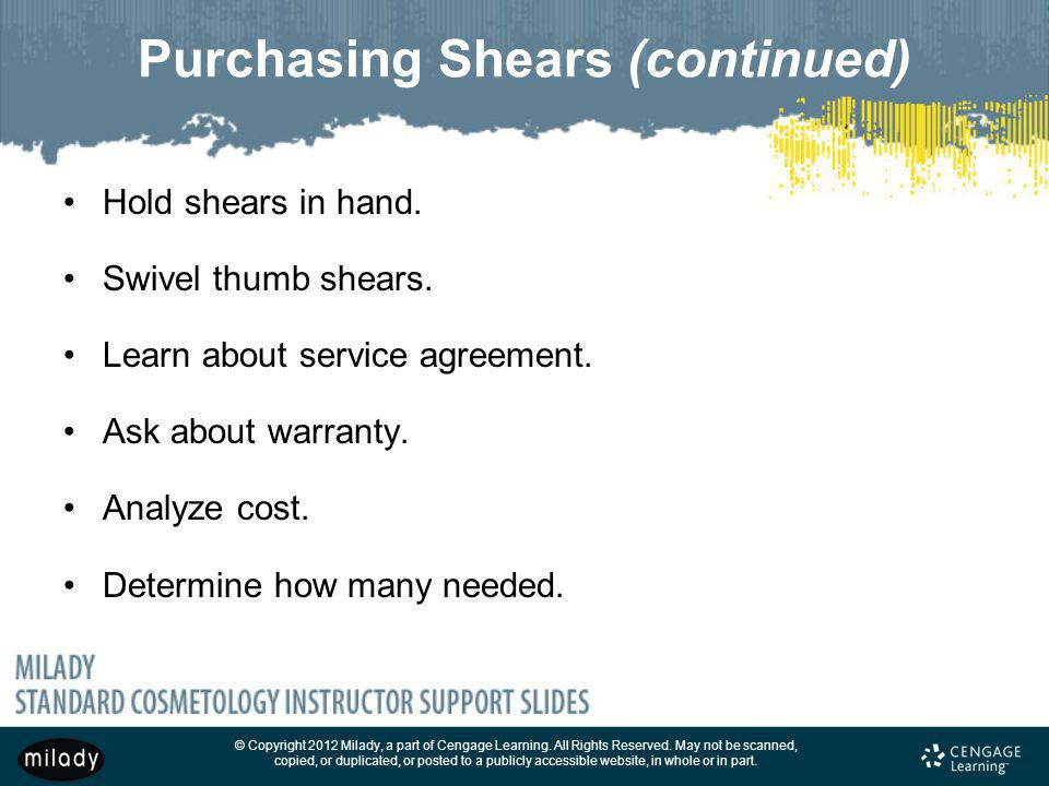 Purchasing Shears (continued)