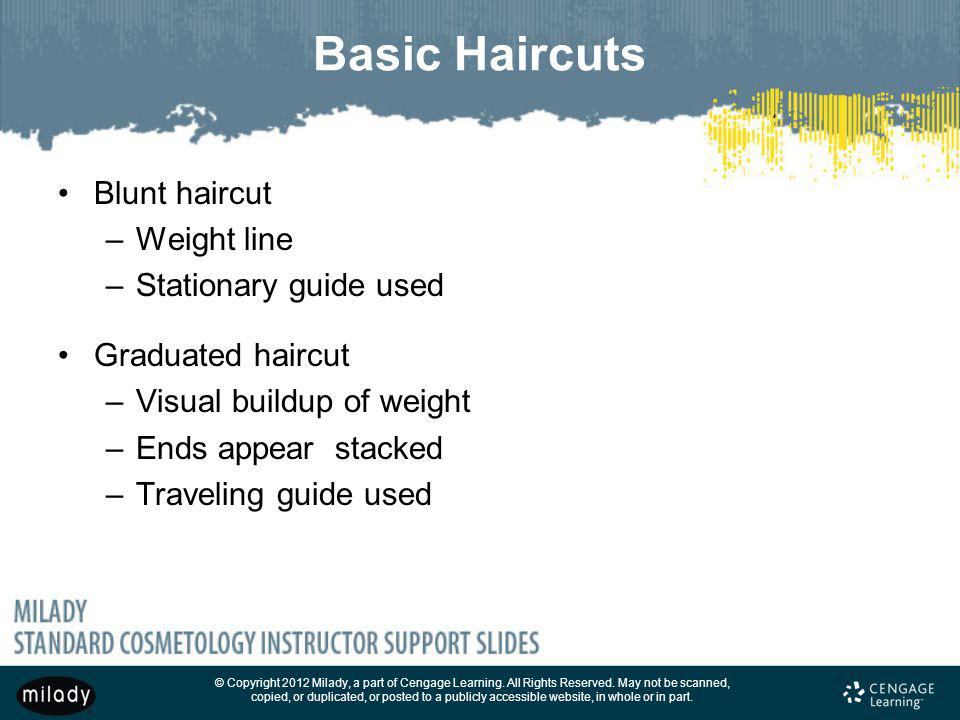 Basic Haircuts Blunt haircut Weight line Stationary guide used