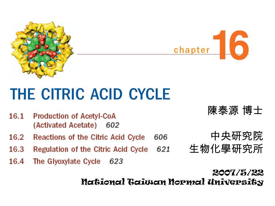 陳泰源 博士 中央研究院 生物化學研究所 2007/5/22 National Taiwan Normal University