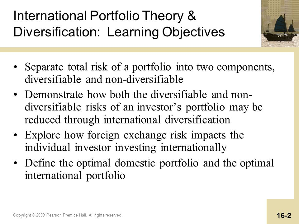 International Portfolio Theory & Diversification: Learning Objectives