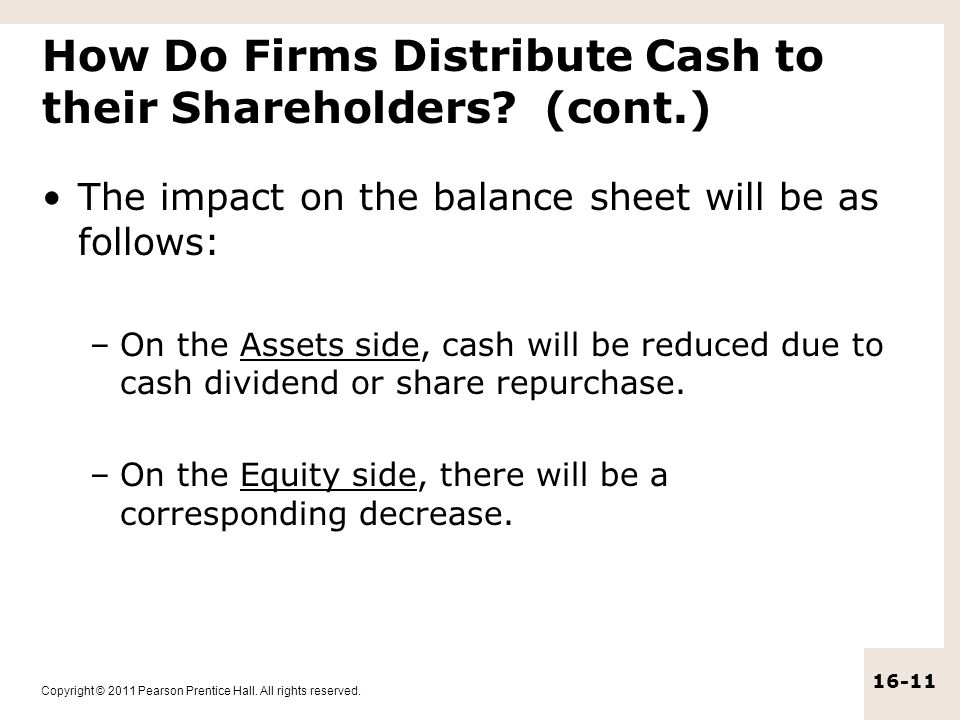 How Do Firms Distribute Cash to their Shareholders (cont.)