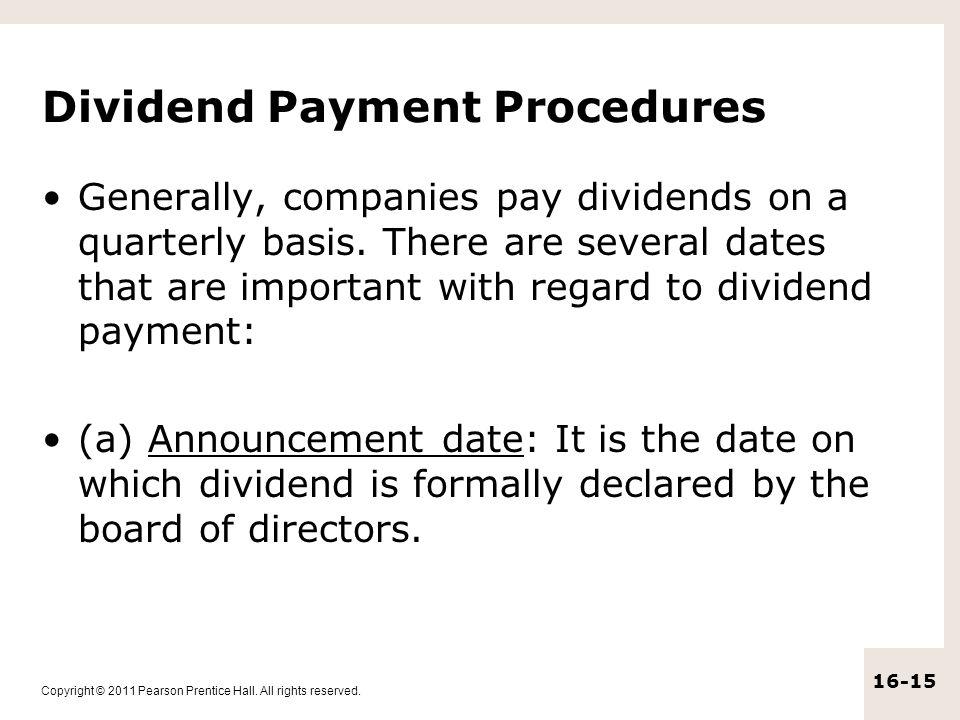 Dividend Payment Procedures