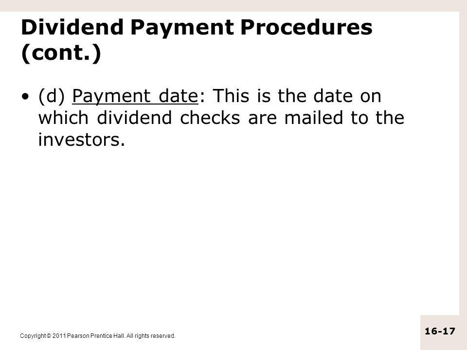 Dividend Payment Procedures (cont.)