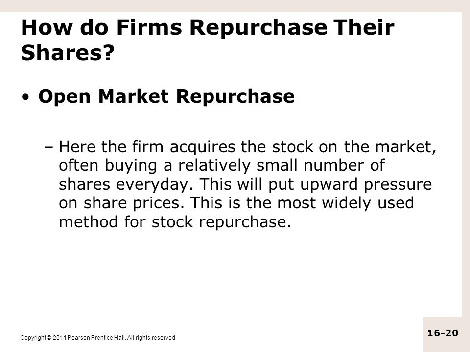 How do Firms Repurchase Their Shares