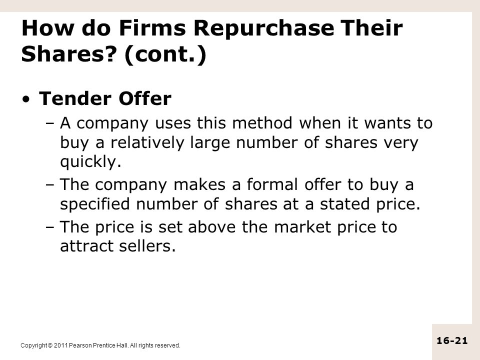 How do Firms Repurchase Their Shares (cont.)