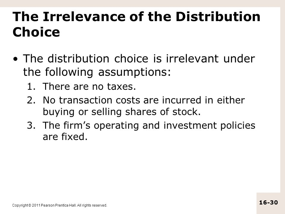 The Irrelevance of the Distribution Choice