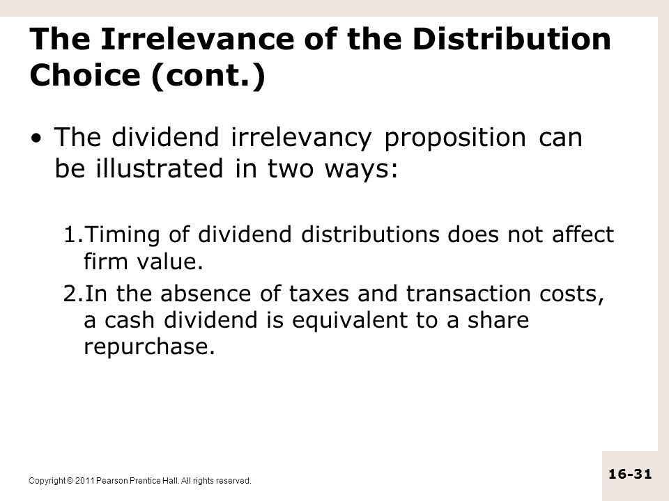 The Irrelevance of the Distribution Choice (cont.)