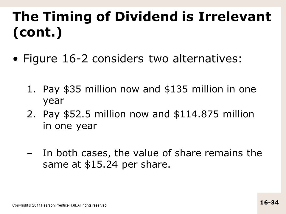The Timing of Dividend is Irrelevant (cont.)