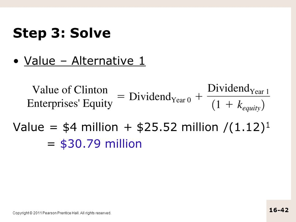Step 3: Solve Value – Alternative 1