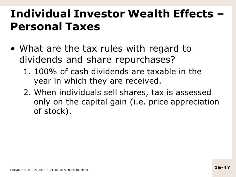 Individual Investor Wealth Effects – Personal Taxes