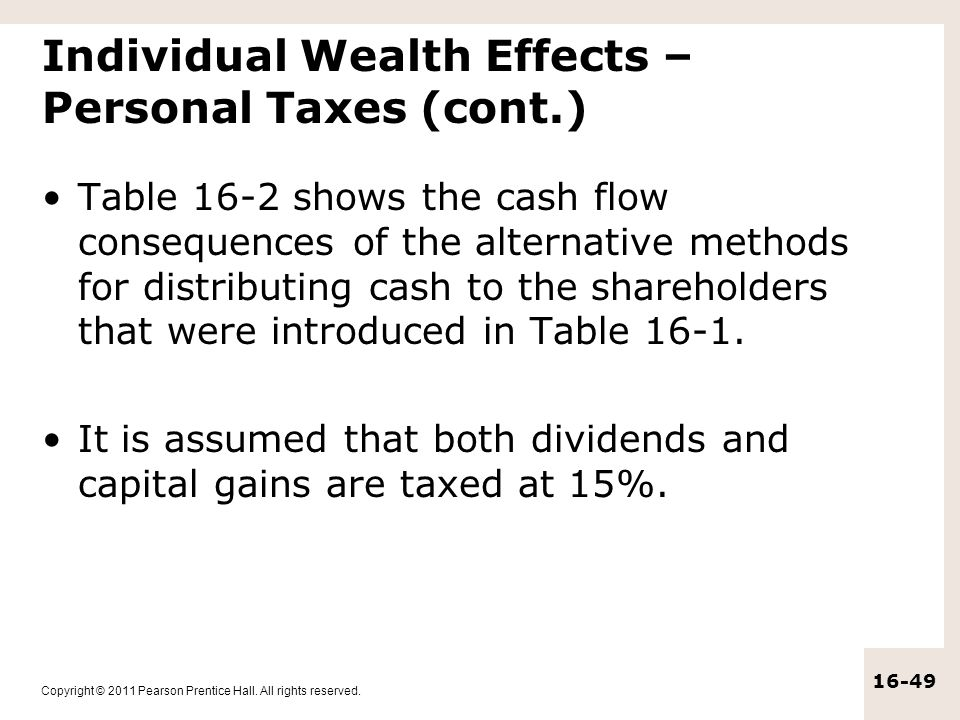 Individual Wealth Effects – Personal Taxes (cont.)