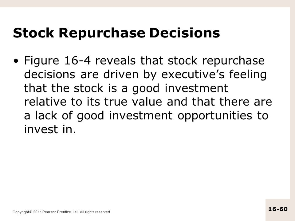 Stock Repurchase Decisions