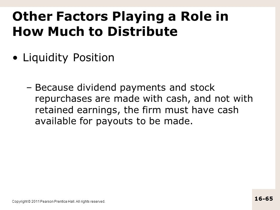 Other Factors Playing a Role in How Much to Distribute