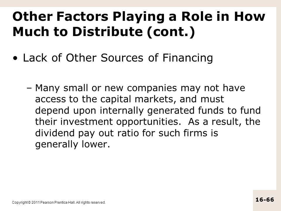 Other Factors Playing a Role in How Much to Distribute (cont.)