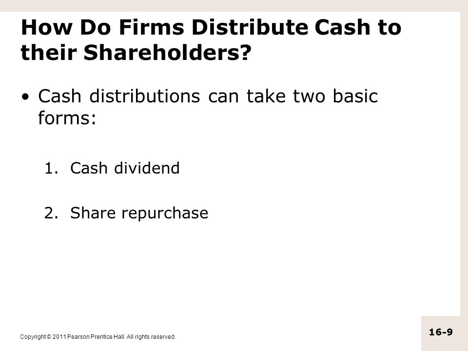 How Do Firms Distribute Cash to their Shareholders
