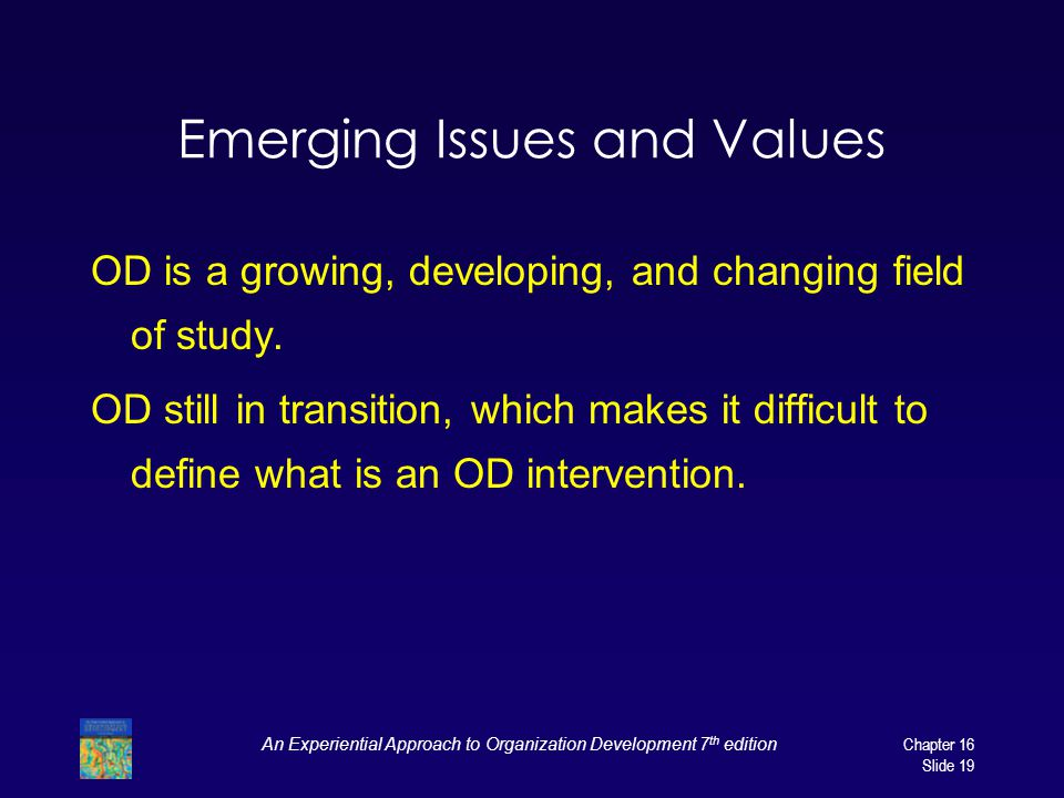 Emerging Issues and Values