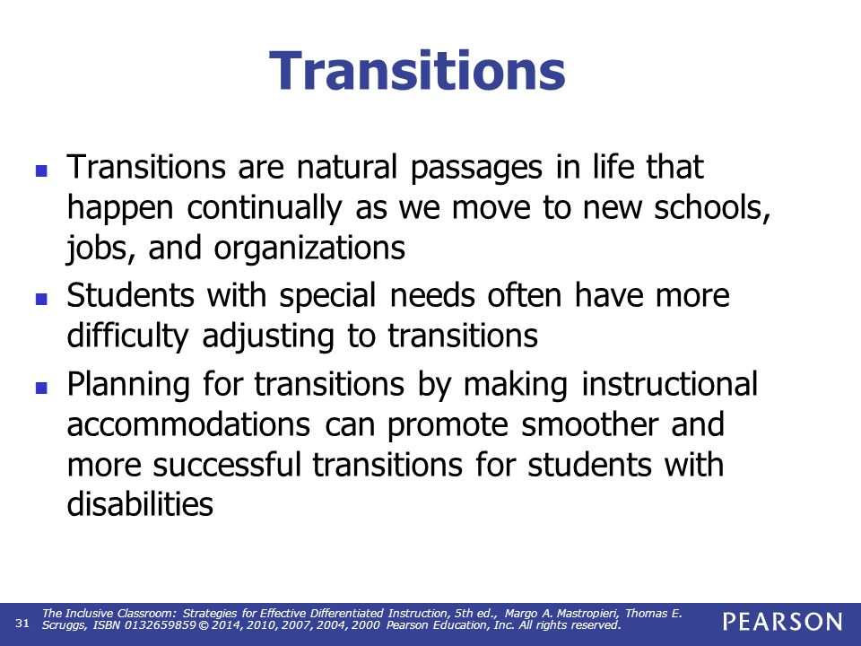 Planning for Transition