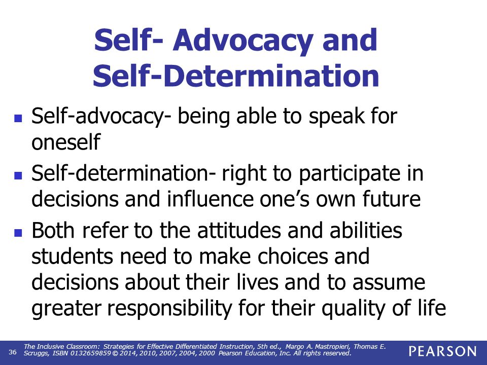 Self- Advocacy Knowing legal rights and responsibilities