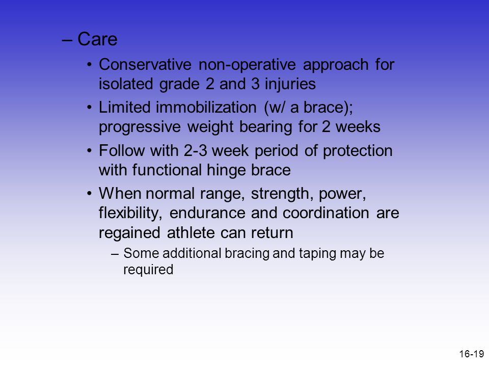 Care Conservative non-operative approach for isolated grade 2 and 3 injuries.