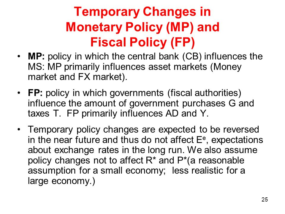 Temporary Changes in Monetary Policy (MP) and Fiscal Policy (FP)