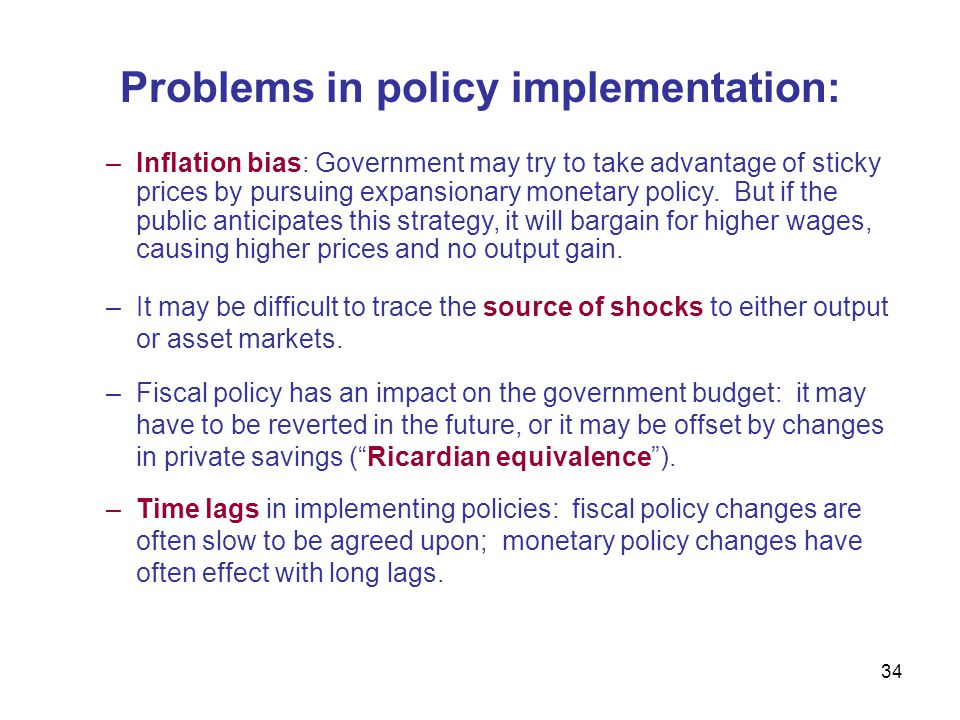 Problems in policy implementation: