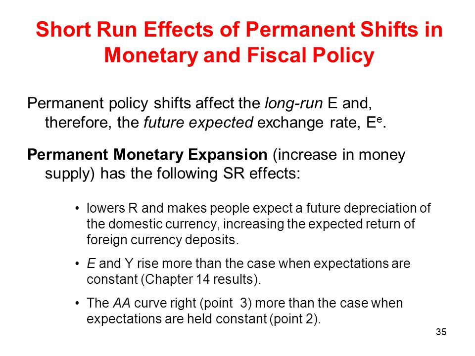 Short Run Effects of Permanent Shifts in Monetary and Fiscal Policy