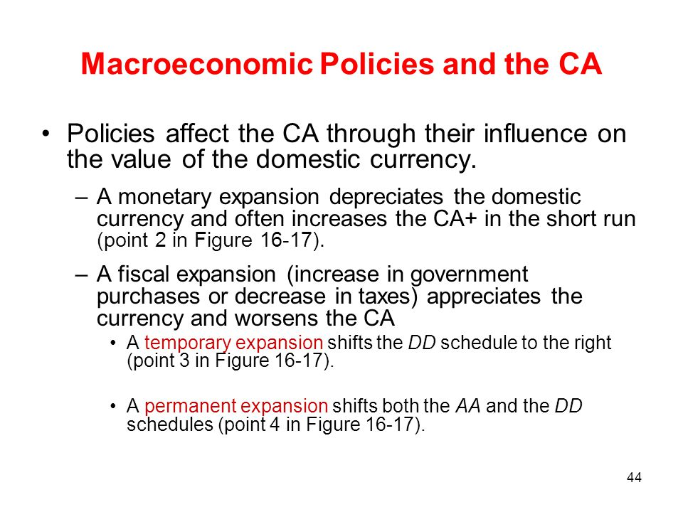 Macroeconomic Policies and the CA