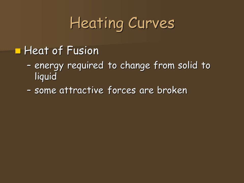 Heating Curves Heat of Fusion