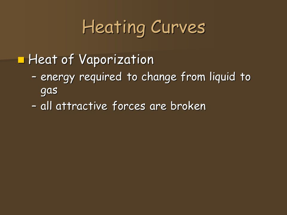 Heating Curves Heat of Vaporization