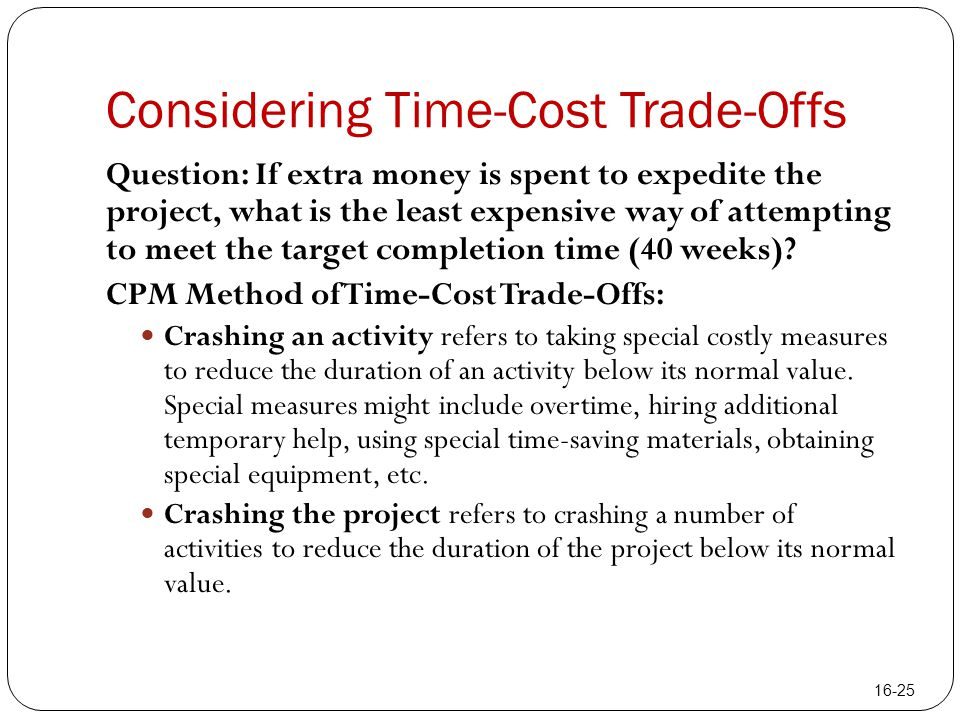 Considering Time-Cost Trade-Offs