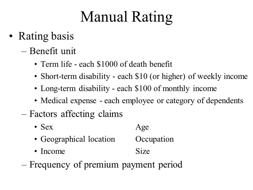 Manual Rating Rating basis Benefit unit Factors affecting claims