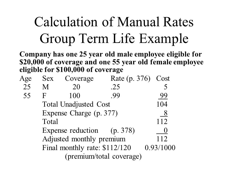 Lecture 16 group insurance ratemaking ppt download calculation of manual rates group term life example thecheapjerseys Gallery