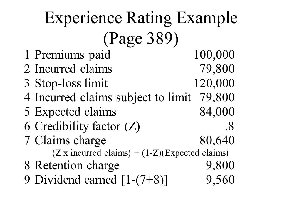 Experience Rating Example (Page 389)