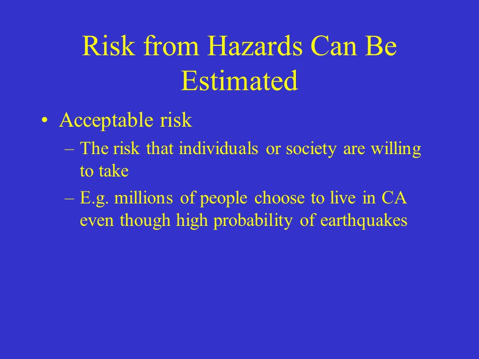 Risk from Hazards Can Be Estimated