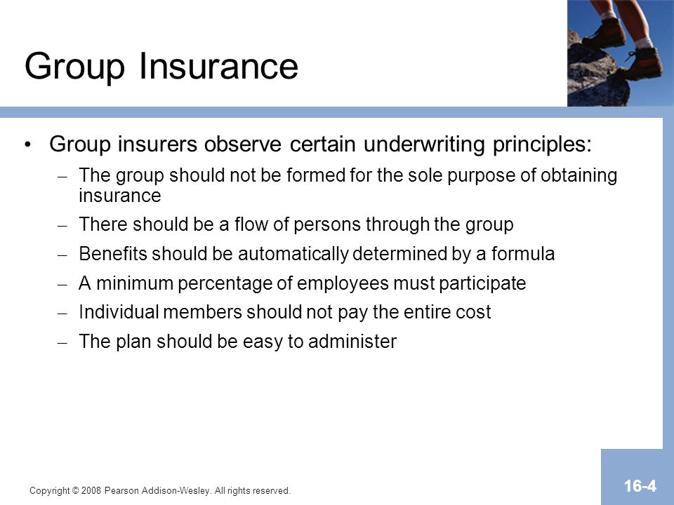 Transparency Master 1.2 Group Insurance. Group insurers observe certain underwriting principles: