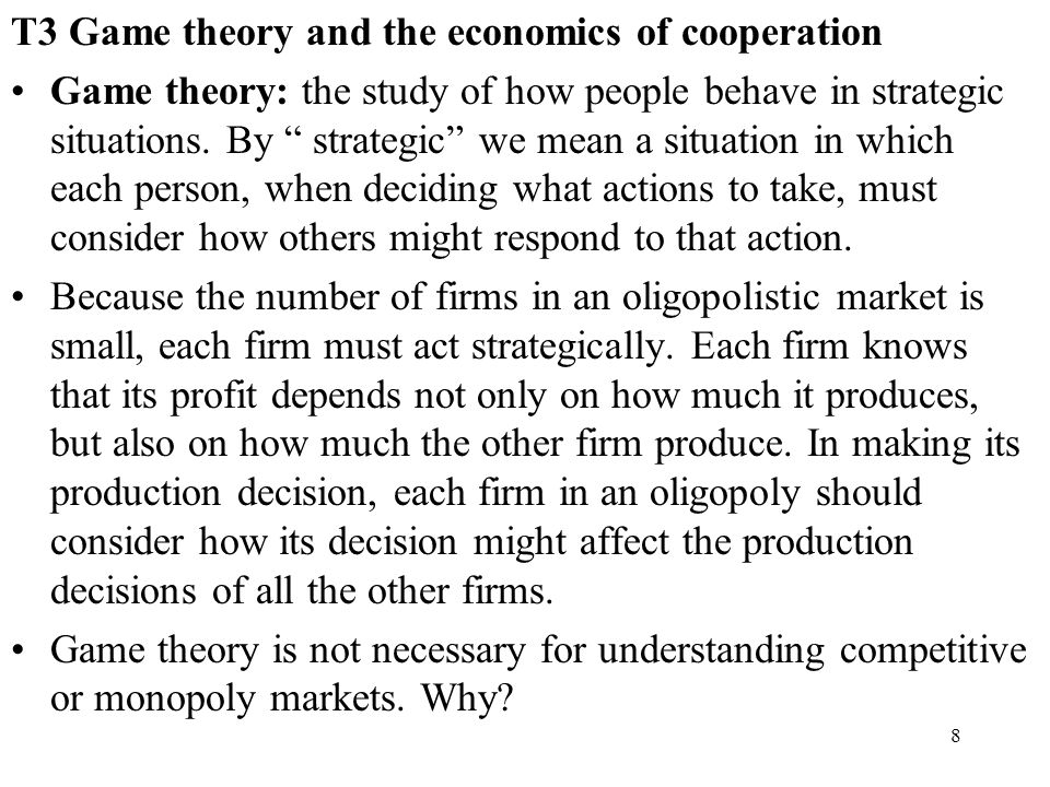 T3 Game theory and the economics of cooperation