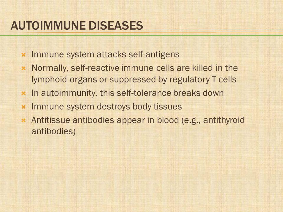 Autoimmune Diseases Immune system attacks self-antigens