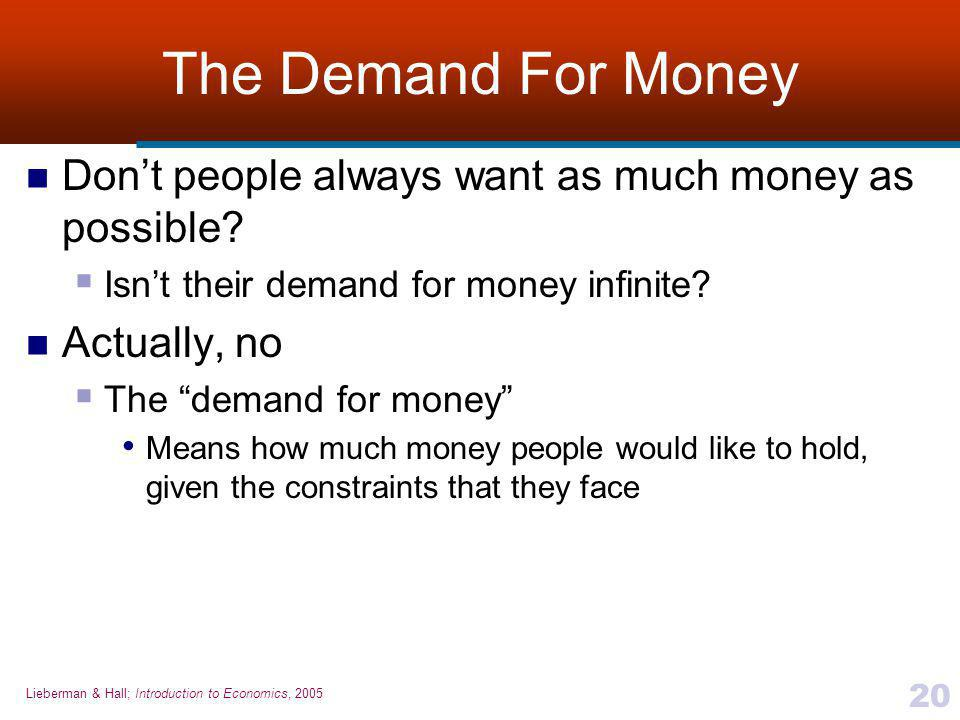 The Demand For Money Don't people always want as much money as possible Isn't their demand for money infinite