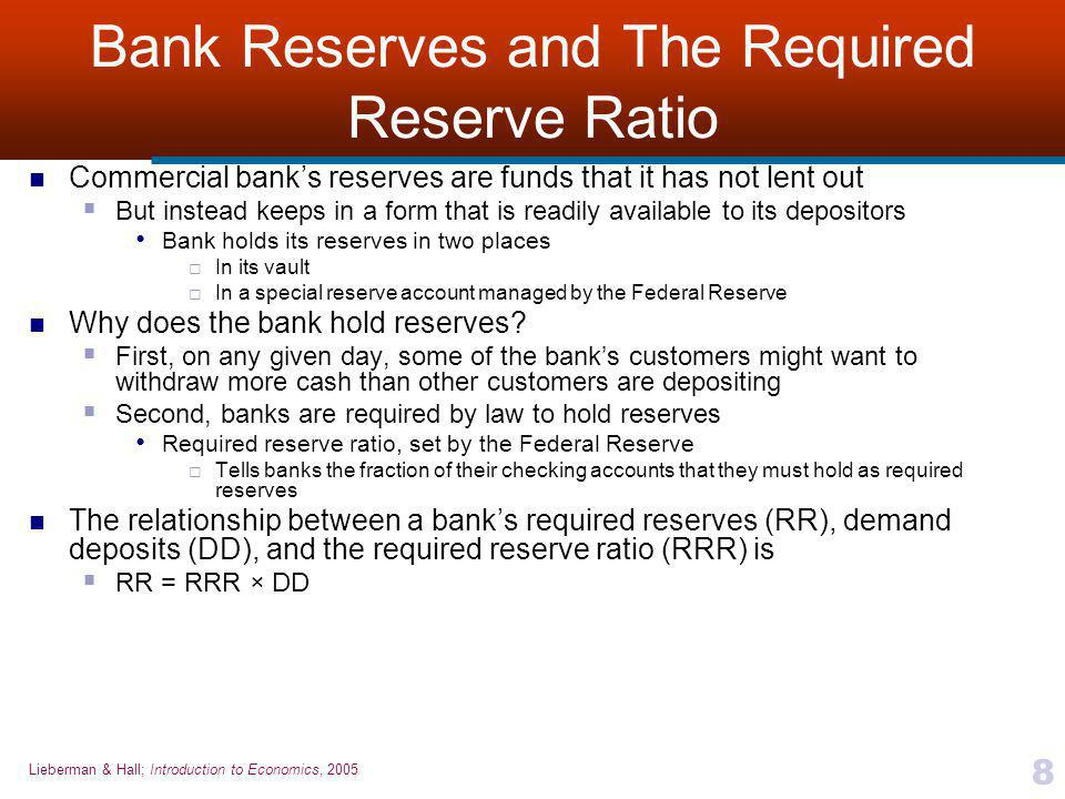 Bank Reserves and The Required Reserve Ratio