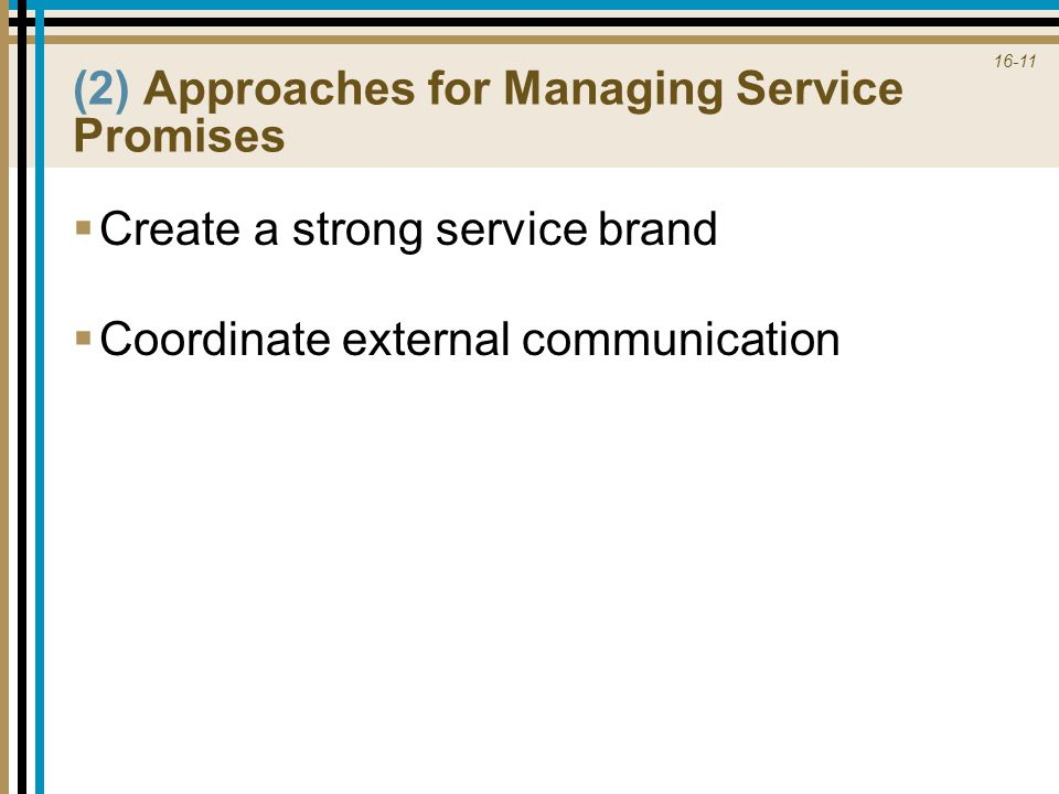 (2) Approaches for Managing Service Promises