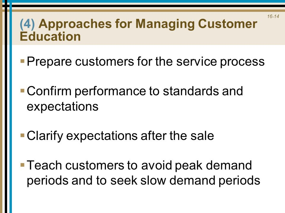 (4) Approaches for Managing Customer Education