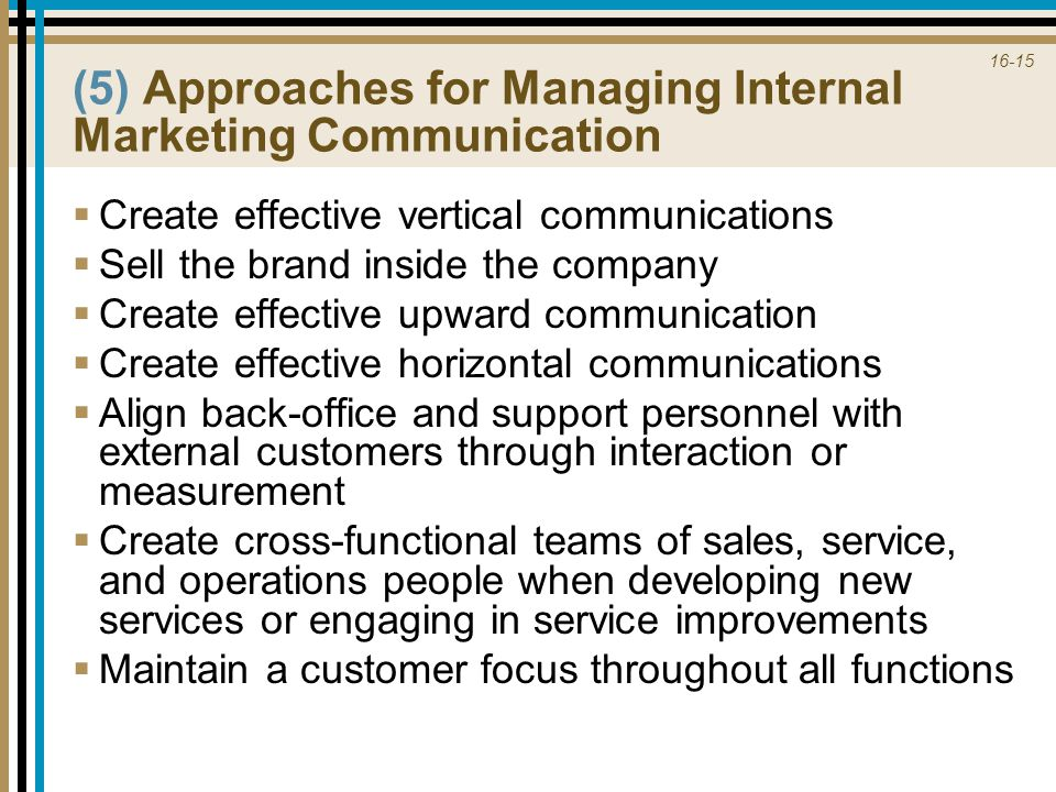 (5) Approaches for Managing Internal Marketing Communication