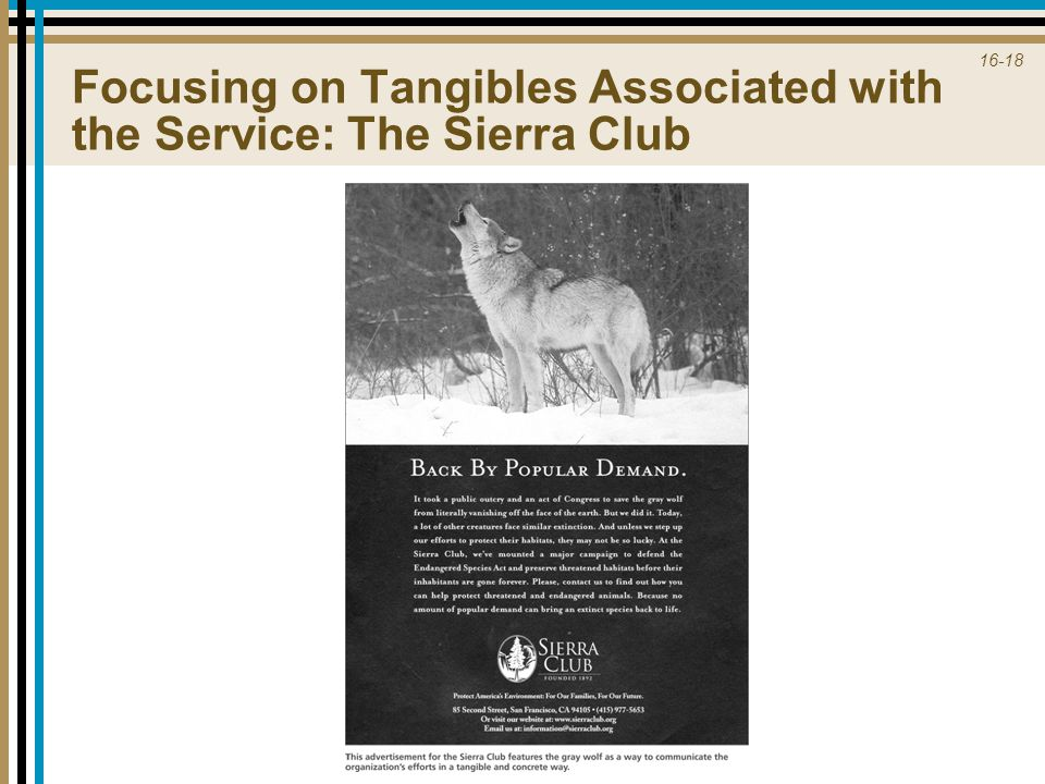 Focusing on Tangibles Associated with the Service: The Sierra Club