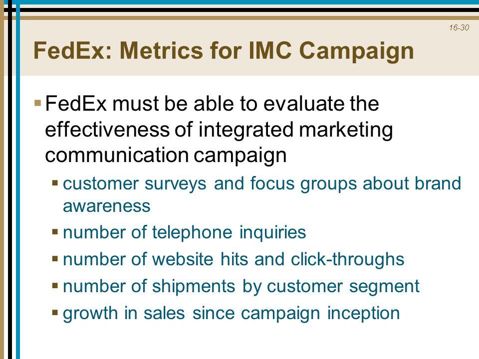 FedEx: Metrics for IMC Campaign