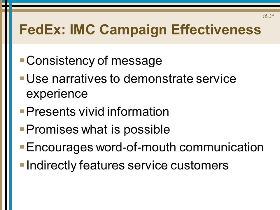 FedEx: IMC Campaign Effectiveness