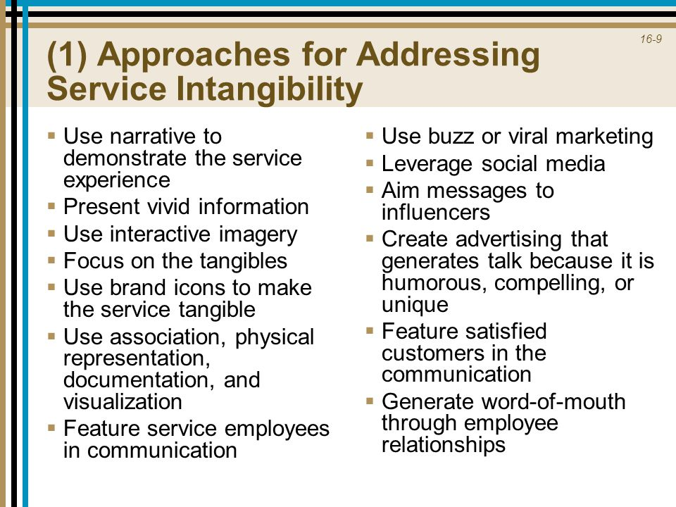 (1) Approaches for Addressing Service Intangibility