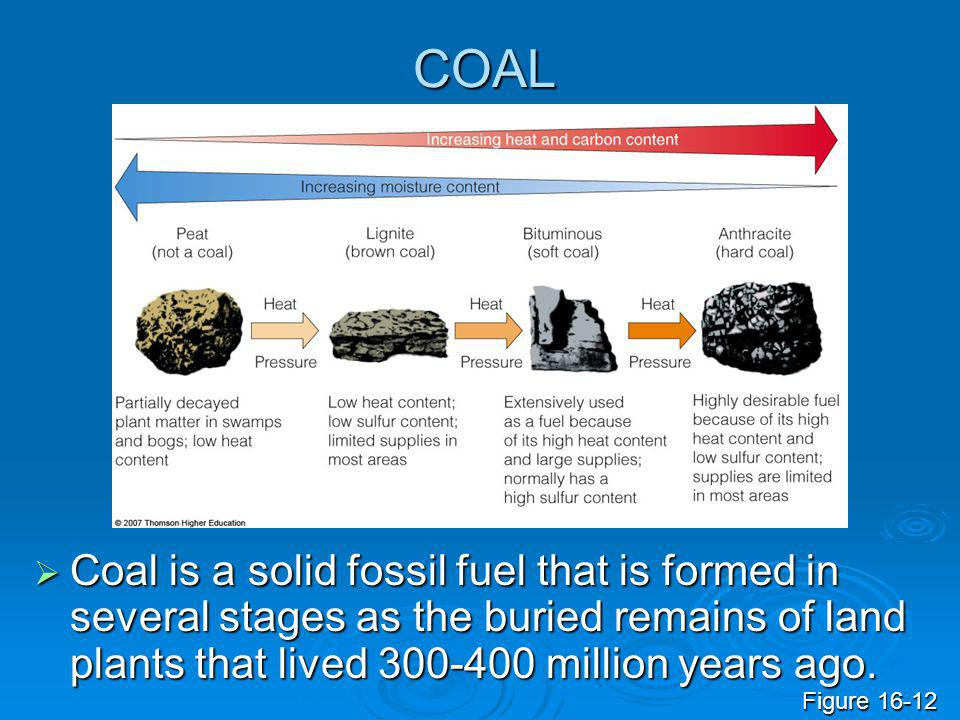 COAL Coal is a solid fossil fuel that is formed in several stages as the buried remains of land plants that lived 300-400 million years ago.