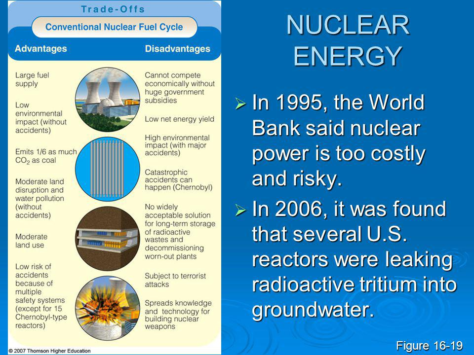 NUCLEAR ENERGY In 1995, the World Bank said nuclear power is too costly and risky.