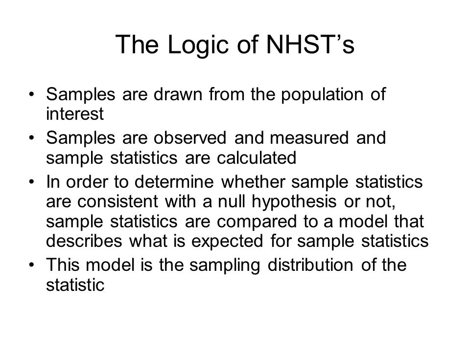 The Logic of NHST's Samples are drawn from the population of interest