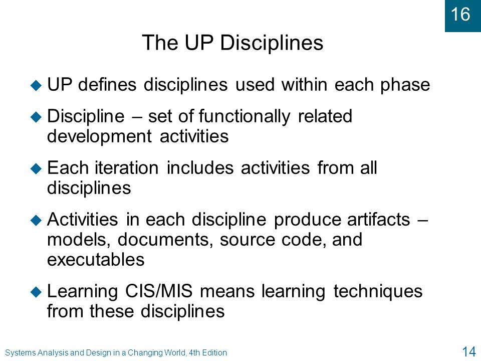 The UP Disciplines UP defines disciplines used within each phase
